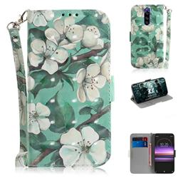 Watercolor Flower 3D Painted Leather Wallet Phone Case for Sony Xperia 1 / Xperia XZ4