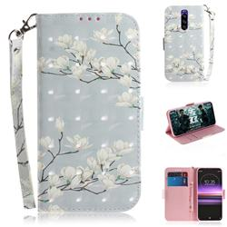 Magnolia Flower 3D Painted Leather Wallet Phone Case for Sony Xperia 1 / Xperia XZ4