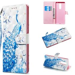 Blue Peacock 3D Painted Leather Wallet Phone Case for Sony Xperia 1 / Xperia XZ4