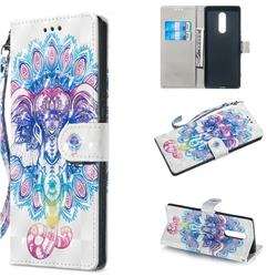 Colorful Elephant 3D Painted Leather Wallet Phone Case for Sony Xperia 1 / Xperia XZ4