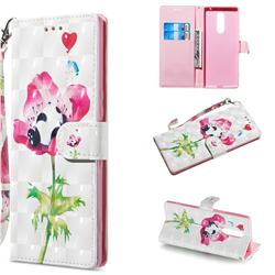 Flower Panda 3D Painted Leather Wallet Phone Case for Sony Xperia 1 / Xperia XZ4