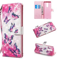 Pink Butterfly 3D Painted Leather Wallet Phone Case for Sony Xperia 1 / Xperia XZ4