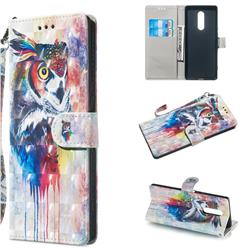 Watercolor Owl 3D Painted Leather Wallet Phone Case for Sony Xperia 1 / Xperia XZ4