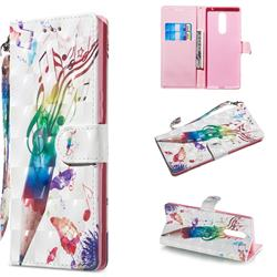 Music Pen 3D Painted Leather Wallet Phone Case for Sony Xperia 1 / Xperia XZ4