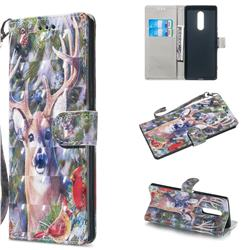 Elk Deer 3D Painted Leather Wallet Phone Case for Sony Xperia 1 / Xperia XZ4