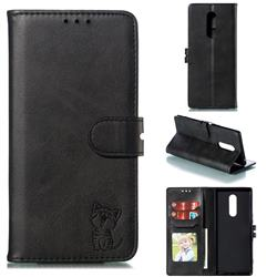 Embossing Happy Cat Leather Wallet Case for Sony Xperia 1 / Xperia XZ4 - Black