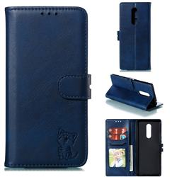 Embossing Happy Cat Leather Wallet Case for Sony Xperia 1 / Xperia XZ4 - Blue