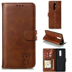 Embossing Happy Cat Leather Wallet Case for Sony Xperia 1 / Xperia XZ4 - Brown