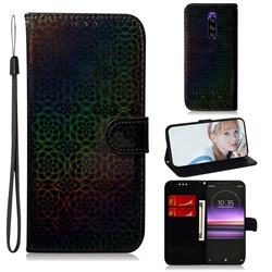 Laser Circle Shining Leather Wallet Phone Case for Sony Xperia 1 / Xperia XZ4 - Black