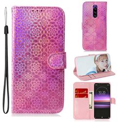 Laser Circle Shining Leather Wallet Phone Case for Sony Xperia 1 / Xperia XZ4 - Pink