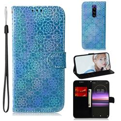 Laser Circle Shining Leather Wallet Phone Case for Sony Xperia 1 / Xperia XZ4 - Blue