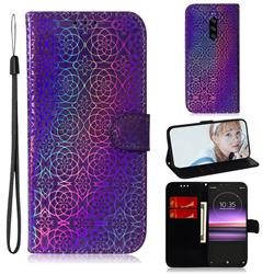 Laser Circle Shining Leather Wallet Phone Case for Sony Xperia 1 / Xperia XZ4 - Purple