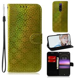 Laser Circle Shining Leather Wallet Phone Case for Sony Xperia 1 / Xperia XZ4 - Golden