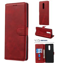 Retro Calf Matte Leather Wallet Phone Case for Sony Xperia 1 / Xperia XZ4 - Red