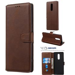 Retro Calf Matte Leather Wallet Phone Case for Sony Xperia 1 / Xperia XZ4 - Brown