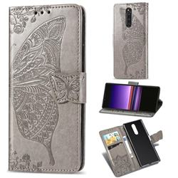 Embossing Mandala Flower Butterfly Leather Wallet Case for Sony Xperia 1 / Xperia XZ4 - Gray