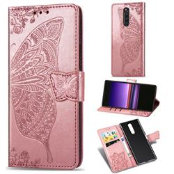 Embossing Mandala Flower Butterfly Leather Wallet Case for Sony Xperia 1 / Xperia XZ4 - Rose Gold