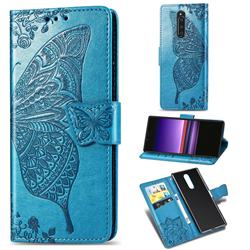 Embossing Mandala Flower Butterfly Leather Wallet Case for Sony Xperia 1 / Xperia XZ4 - Blue