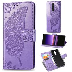 Embossing Mandala Flower Butterfly Leather Wallet Case for Sony Xperia 1 / Xperia XZ4 - Light Purple