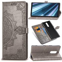 Embossing Imprint Mandala Flower Leather Wallet Case for Sony Xperia 1 / Xperia XZ4 - Gray