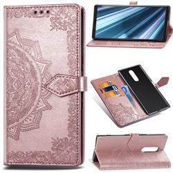 Embossing Imprint Mandala Flower Leather Wallet Case for Sony Xperia 1 / Xperia XZ4 - Rose Gold