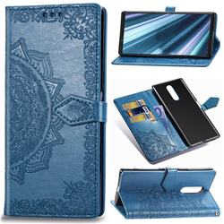 Embossing Imprint Mandala Flower Leather Wallet Case for Sony Xperia 1 / Xperia XZ4 - Blue