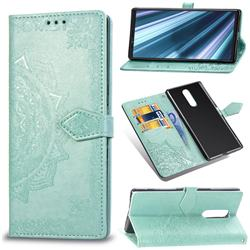 Embossing Imprint Mandala Flower Leather Wallet Case for Sony Xperia 1 / Xperia XZ4 - Green