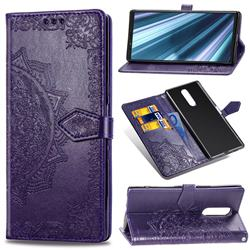 Embossing Imprint Mandala Flower Leather Wallet Case for Sony Xperia 1 / Xperia XZ4 - Purple