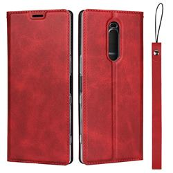 Calf Pattern Magnetic Automatic Suction Leather Wallet Case for Sony Xperia 1 / Xperia XZ4 - Red