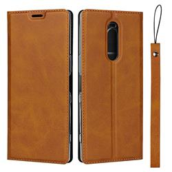Calf Pattern Magnetic Automatic Suction Leather Wallet Case for Sony Xperia 1 / Xperia XZ4 - Brown