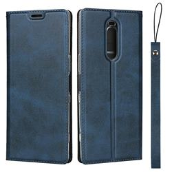 Calf Pattern Magnetic Automatic Suction Leather Wallet Case for Sony Xperia 1 / Xperia XZ4 - Blue