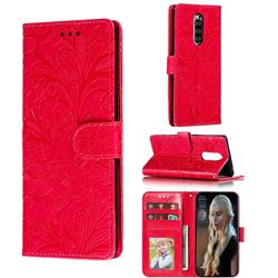 Intricate Embossing Lace Jasmine Flower Leather Wallet Case for Sony Xperia 1 / Xperia XZ4 - Red