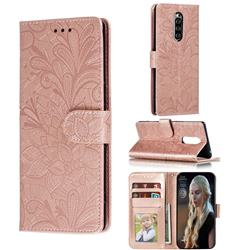Intricate Embossing Lace Jasmine Flower Leather Wallet Case for Sony Xperia 1 / Xperia XZ4 - Rose Gold