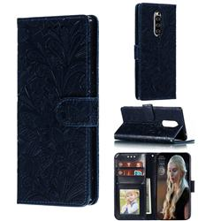 Intricate Embossing Lace Jasmine Flower Leather Wallet Case for Sony Xperia 1 / Xperia XZ4 - Dark Blue