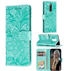 Intricate Embossing Lace Jasmine Flower Leather Wallet Case for Sony Xperia 1 / Xperia XZ4 - Green