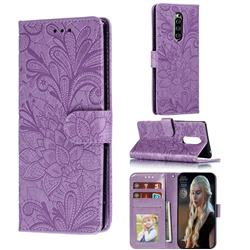 Intricate Embossing Lace Jasmine Flower Leather Wallet Case for Sony Xperia 1 / Xperia XZ4 - Purple