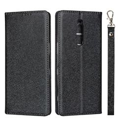 Ultra Slim Magnetic Automatic Suction Silk Lanyard Leather Flip Cover for Sony Xperia 1 / Xperia XZ4 - Black