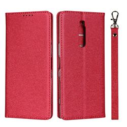 Ultra Slim Magnetic Automatic Suction Silk Lanyard Leather Flip Cover for Sony Xperia 1 / Xperia XZ4 - Red