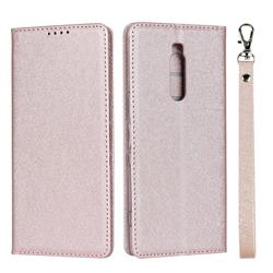 Ultra Slim Magnetic Automatic Suction Silk Lanyard Leather Flip Cover for Sony Xperia 1 / Xperia XZ4 - Rose Gold