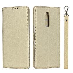 Ultra Slim Magnetic Automatic Suction Silk Lanyard Leather Flip Cover for Sony Xperia 1 / Xperia XZ4 - Golden