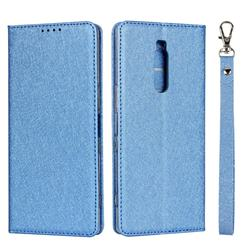 Ultra Slim Magnetic Automatic Suction Silk Lanyard Leather Flip Cover for Sony Xperia 1 / Xperia XZ4 - Sky Blue