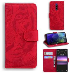Intricate Embossing Tiger Face Leather Wallet Case for Sony Xperia 1 / Xperia XZ4 - Red