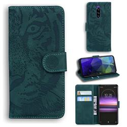 Intricate Embossing Tiger Face Leather Wallet Case for Sony Xperia 1 / Xperia XZ4 - Green