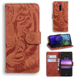 Intricate Embossing Tiger Face Leather Wallet Case for Sony Xperia 1 / Xperia XZ4 - Brown