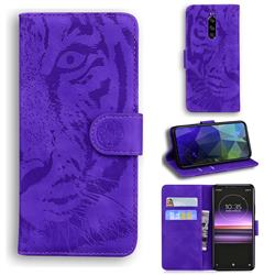 Intricate Embossing Tiger Face Leather Wallet Case for Sony Xperia 1 / Xperia XZ4 - Purple