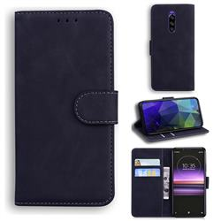 Retro Classic Skin Feel Leather Wallet Phone Case for Sony Xperia 1 / Xperia XZ4 - Black