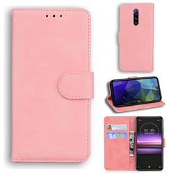 Retro Classic Skin Feel Leather Wallet Phone Case for Sony Xperia 1 / Xperia XZ4 - Pink