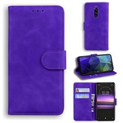 Retro Classic Skin Feel Leather Wallet Phone Case for Sony Xperia 1 / Xperia XZ4 - Purple