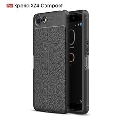 Luxury Auto Focus Litchi Texture Silicone TPU Back Cover for Sony Xperia XZ4 Compact - Black