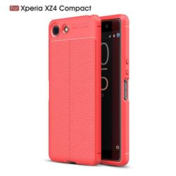 Luxury Auto Focus Litchi Texture Silicone TPU Back Cover for Sony Xperia XZ4 Compact - Red